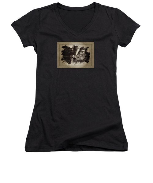 Pen And Ink Fall Butterfly Women's V-Neck T-Shirt (Junior Cut) by Karen McKenzie McAdoo
