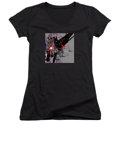 Women's V-Neck T-Shirt (Junior Cut) featuring the painting Penman Original-230 Point Of Impact by Andrew Penman