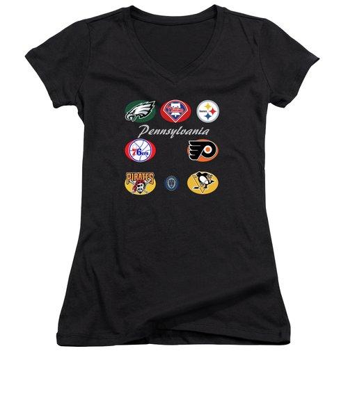 Pennsylvania Professional Sport Teams Collage  Women's V-Neck