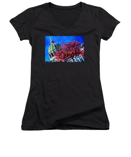 Women's V-Neck T-Shirt (Junior Cut) featuring the photograph Pennsylvania State Capitol Dome In Bloom by Shelley Neff