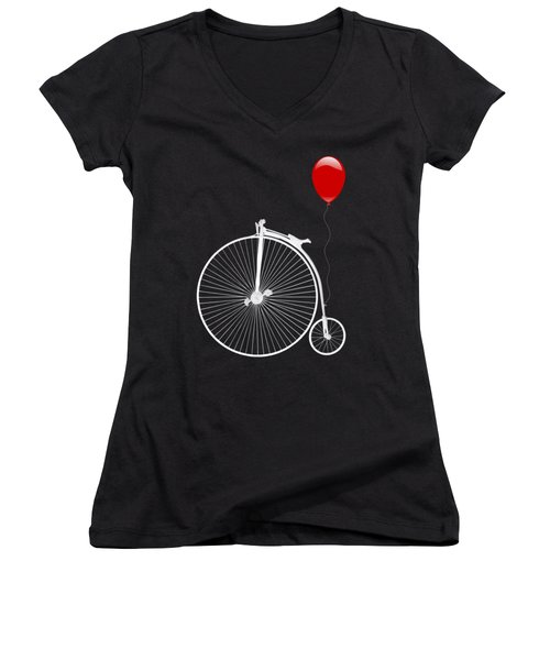 Penny Farthing With Red Balloon On Black Women's V-Neck (Athletic Fit)