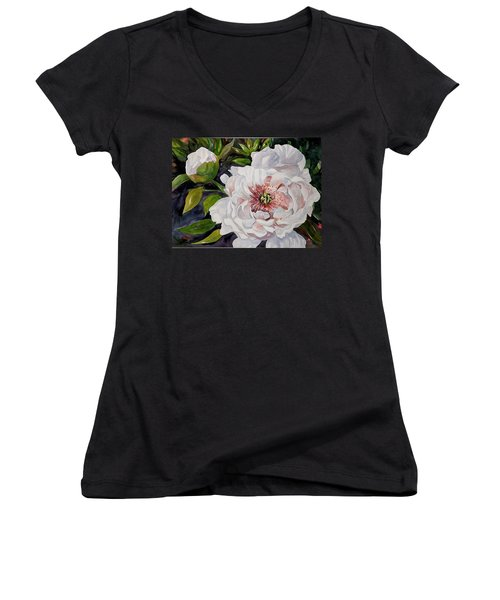 Peony Pals Women's V-Neck (Athletic Fit)