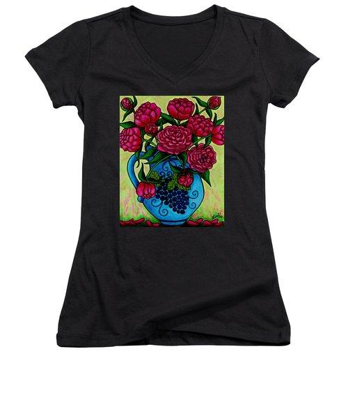 Peony Party Women's V-Neck T-Shirt