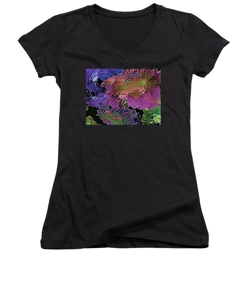 Peony Profusion 104 Women's V-Neck T-Shirt (Junior Cut) by Lynda Lehmann
