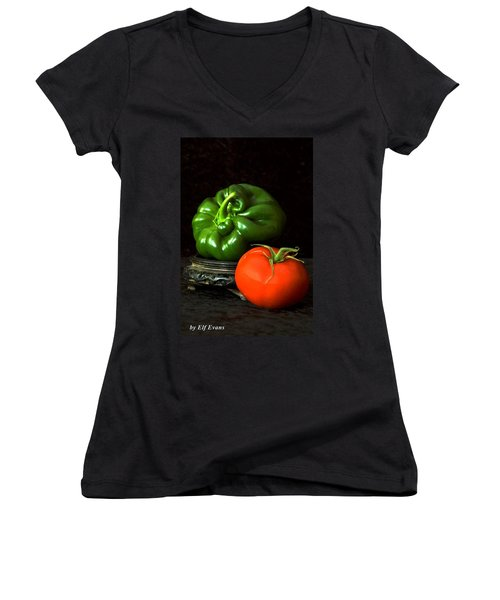 Pepper And Tomato Women's V-Neck (Athletic Fit)