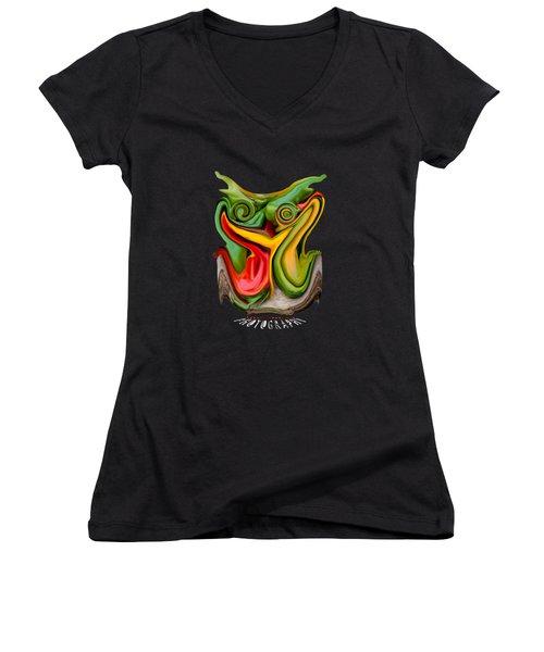 Pepper Strigiform Transparency Women's V-Neck T-Shirt