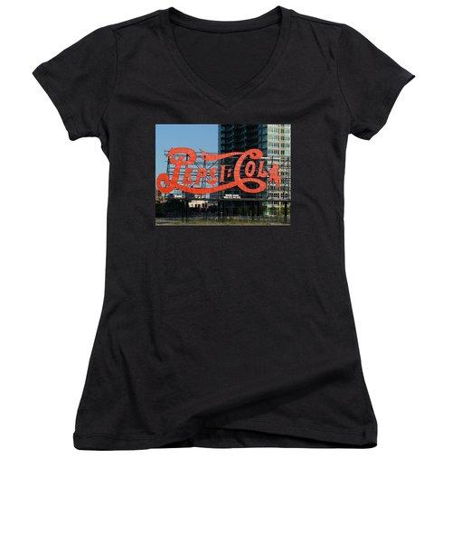 Pepsi-cola Women's V-Neck T-Shirt (Junior Cut) by Valerie Ornstein