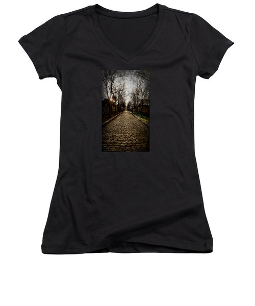 Women's V-Neck T-Shirt (Junior Cut) featuring the photograph Pere Lachaise Cemetery Road 2 by Katie Wing Vigil