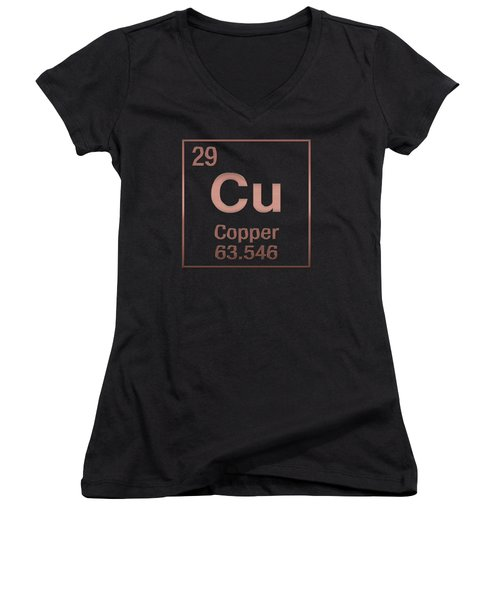 Periodic Table Of Elements - Copper - Cu - Copper On Black Women's V-Neck