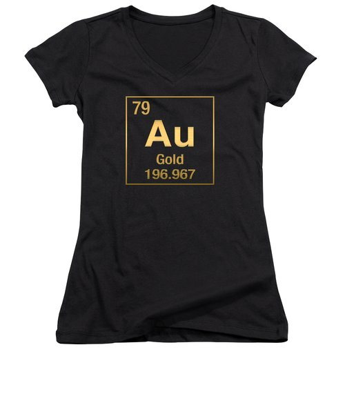 Periodic Table Of Elements - Gold - Au - Gold On Black Women's V-Neck T-Shirt (Junior Cut) by Serge Averbukh