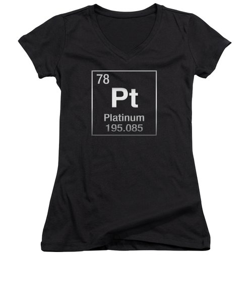 Periodic Table Of Elements - Platinum - Pt - Platinum On Black Women's V-Neck