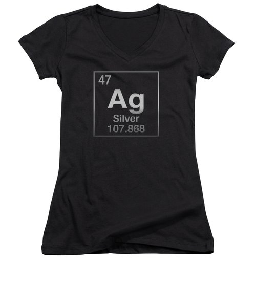 Periodic Table Of Elements - Silver - Ag - Silver On Black Women's V-Neck