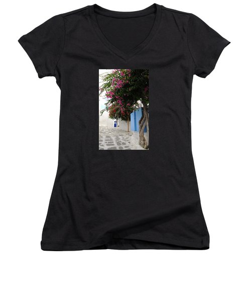 Women's V-Neck T-Shirt (Junior Cut) featuring the photograph Perspective Blue Door by Haleh Mahbod