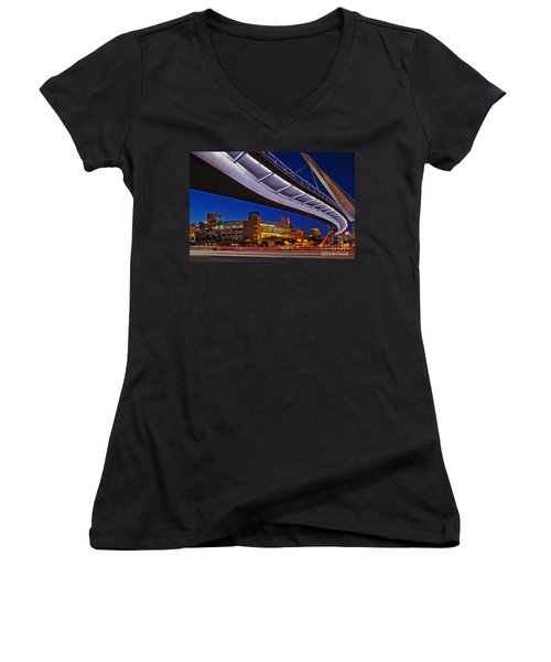 Petco Park And The Harbor Drive Pedestrian Bridge In Downtown San Diego  Women's V-Neck