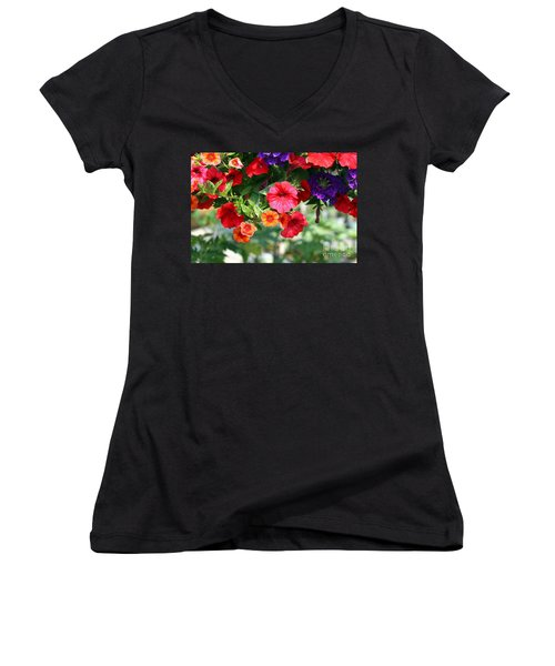 Petunias Women's V-Neck T-Shirt (Junior Cut) by Denise Pohl