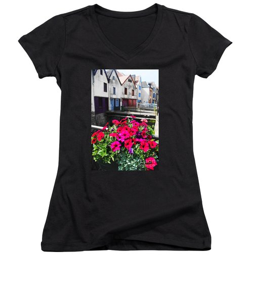 Petunias Of Amiens Women's V-Neck T-Shirt (Junior Cut) by Therese Alcorn