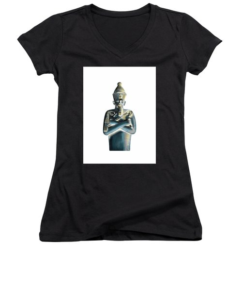 Women's V-Neck T-Shirt featuring the digital art Pharaoh by Elizabeth Lock
