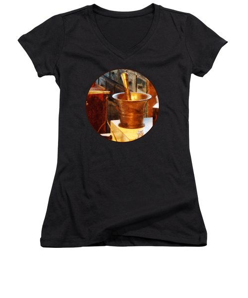 Women's V-Neck T-Shirt (Junior Cut) featuring the photograph Pharmacist - Brass Mortar And Pestle by Susan Savad