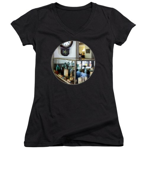 Women's V-Neck T-Shirt (Junior Cut) featuring the photograph Pharmacist - Corner Drug Store by Susan Savad
