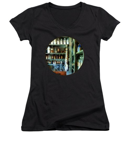 Women's V-Neck T-Shirt (Junior Cut) featuring the photograph Pharmacy - Back Room Of Drug Store by Susan Savad