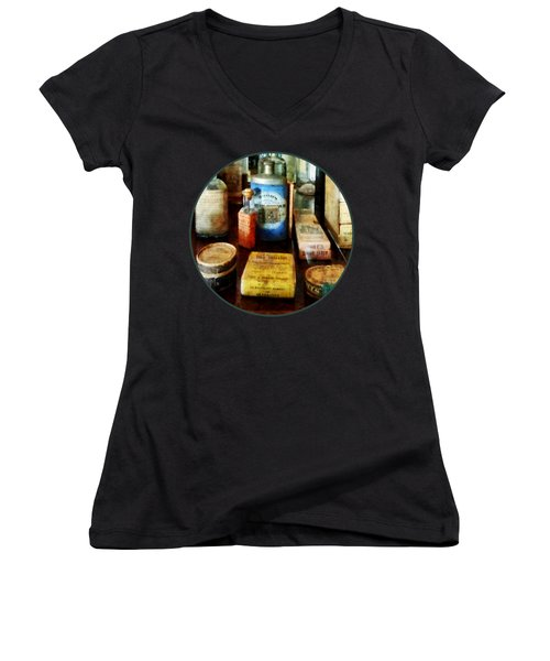 Women's V-Neck T-Shirt (Junior Cut) featuring the photograph Pharmacy - Cough Remedies And Tooth Powder by Susan Savad