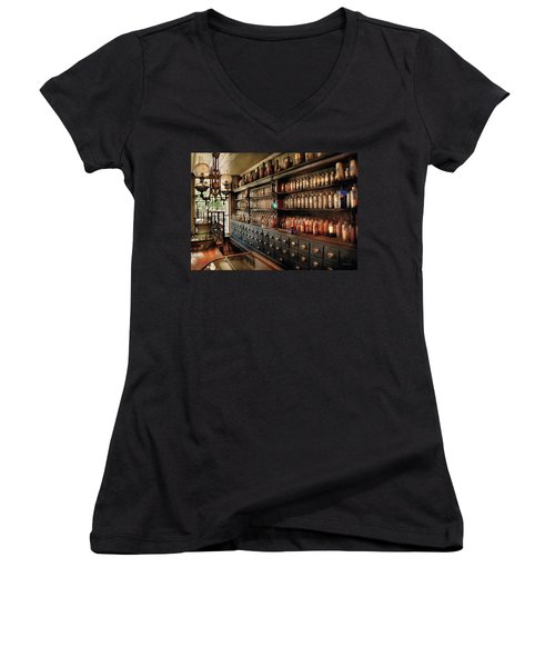 Pharmacy - So Many Drawers And Bottles Women's V-Neck T-Shirt (Junior Cut) by Mike Savad
