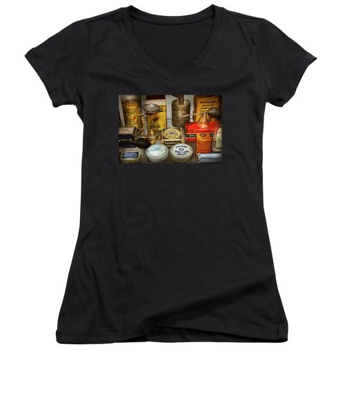 Women's V-Neck T-Shirt (Junior Cut) featuring the photograph Pharmacy - The Pain King by Mike Savad