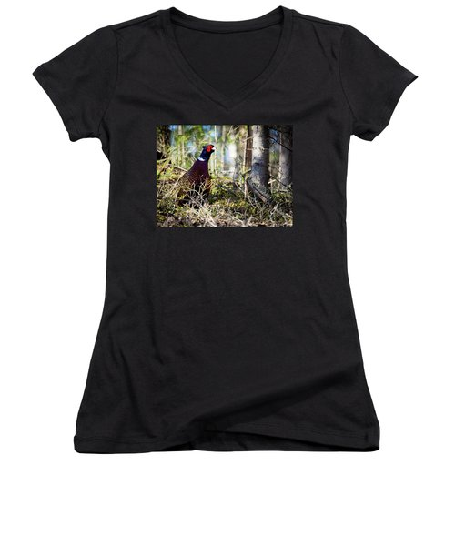 Pheasant In The Forest Women's V-Neck T-Shirt (Junior Cut) by Teemu Tretjakov