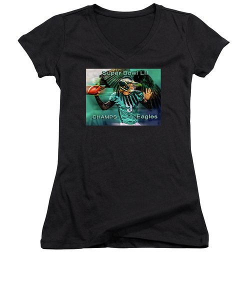 Philadelphia Eagles - Super Bowl Champs Women's V-Neck (Athletic Fit)