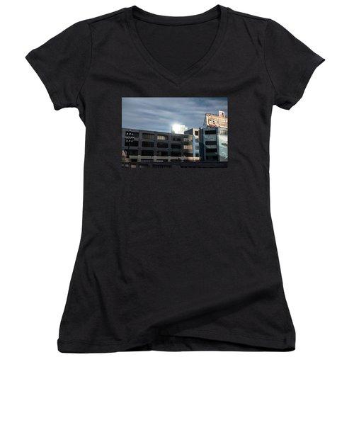 Women's V-Neck T-Shirt (Junior Cut) featuring the photograph Philadelphia Urban Landscape - 1195 by David Sutton