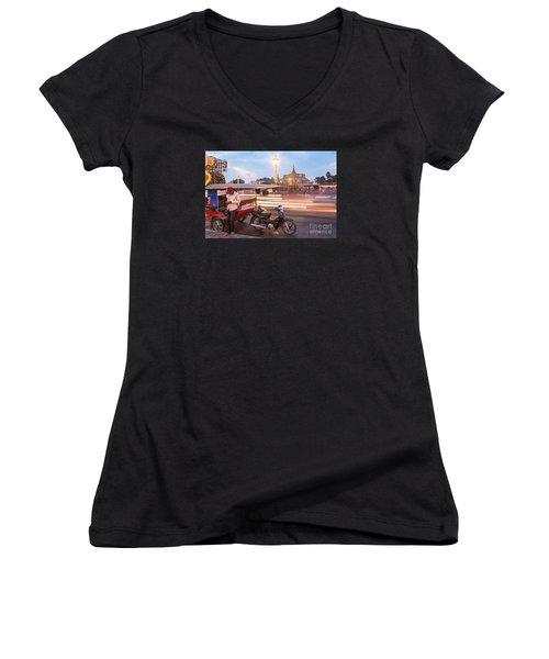 Phnom Penh Tuk Tuk Women's V-Neck T-Shirt