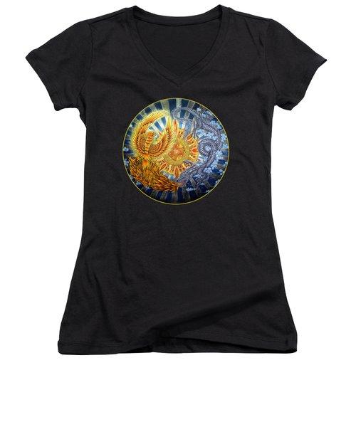 Phoenix And Dragon Women's V-Neck T-Shirt (Junior Cut) by Rebecca Wang