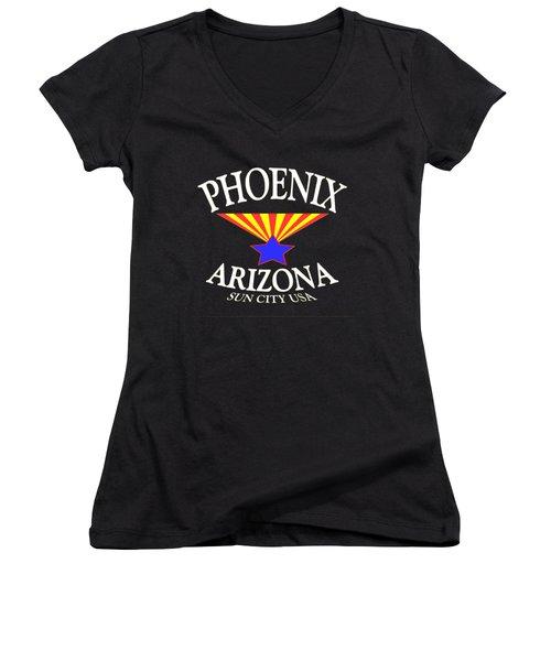 Phoenix Arizona Tshirt Design Women's V-Neck T-Shirt (Junior Cut) by Art America Gallery Peter Potter