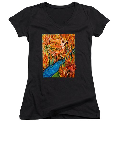 Phoenix Forest Fire Women's V-Neck (Athletic Fit)