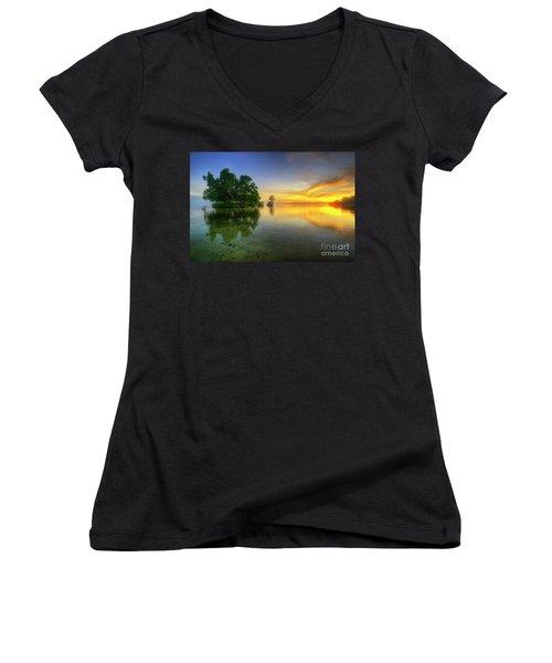 Women's V-Neck T-Shirt (Junior Cut) featuring the photograph Phoenix Nights 5.0 by Yhun Suarez