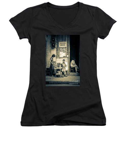 Women's V-Neck T-Shirt (Junior Cut) featuring the photograph Phonecall On Chinese Street by Heiko Koehrer-Wagner