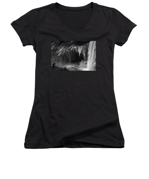 Photographer At Vernal Falls Women's V-Neck T-Shirt (Junior Cut) by Ralph Vazquez