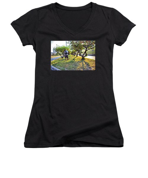 Women's V-Neck T-Shirt (Junior Cut) featuring the photograph Photographer by Brian Wallace