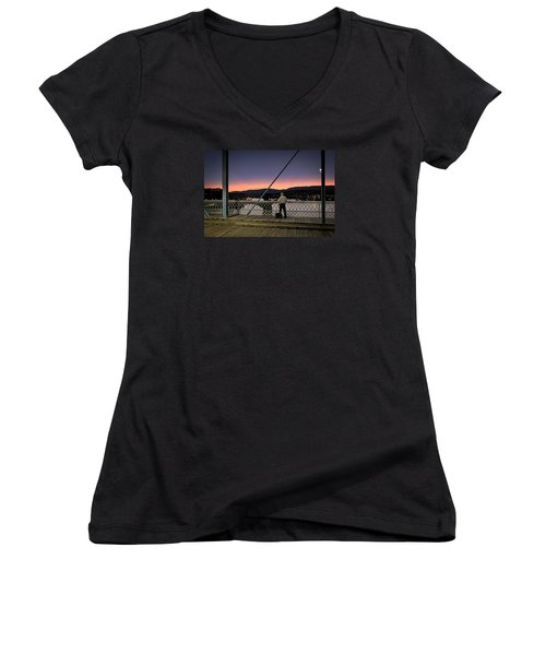 Photographing The Sunset Women's V-Neck (Athletic Fit)