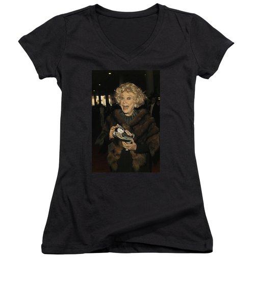 Phyllis Diller Women's V-Neck T-Shirt (Junior Cut) by Nina Prommer