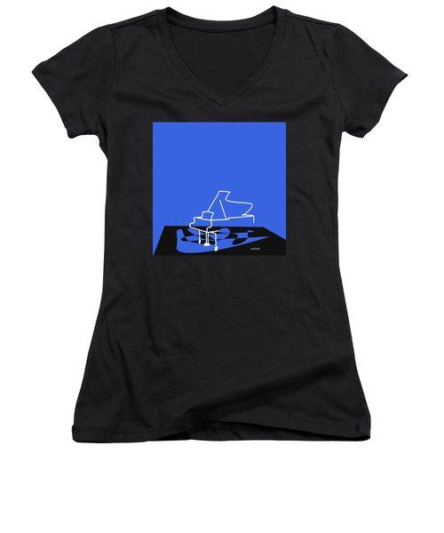 Women's V-Neck T-Shirt (Junior Cut) featuring the digital art Piano In Blue by Jazz DaBri
