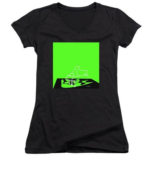 Women's V-Neck T-Shirt (Junior Cut) featuring the digital art Piano In Green by Jazz DaBri