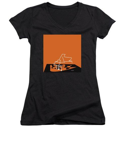 Women's V-Neck T-Shirt (Junior Cut) featuring the digital art Piano In Orange by Jazz DaBri