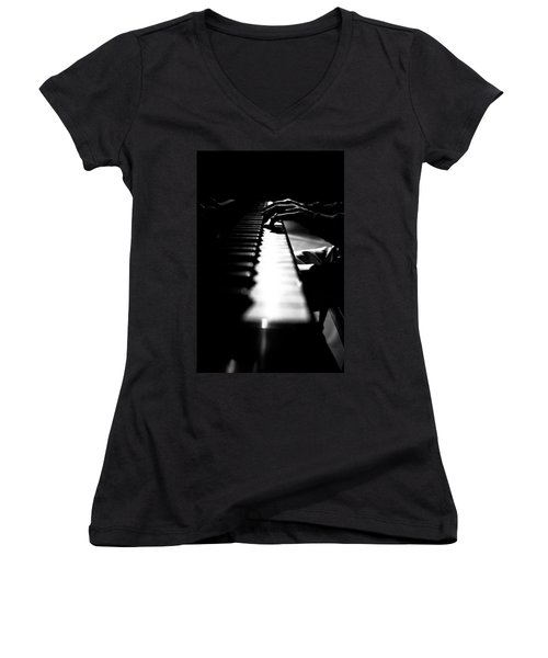 Piano Player Women's V-Neck (Athletic Fit)