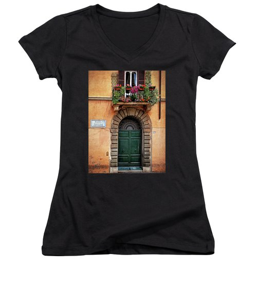 Piazza Navona House Women's V-Neck T-Shirt (Junior Cut) by Marion McCristall