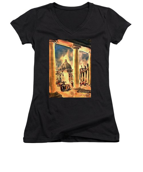 Piazza San Pietro In Roma Italy Women's V-Neck (Athletic Fit)