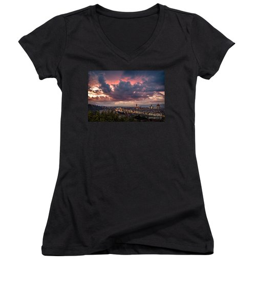 Piazzale Michelangelo Women's V-Neck T-Shirt (Junior Cut) by Giuseppe Torre