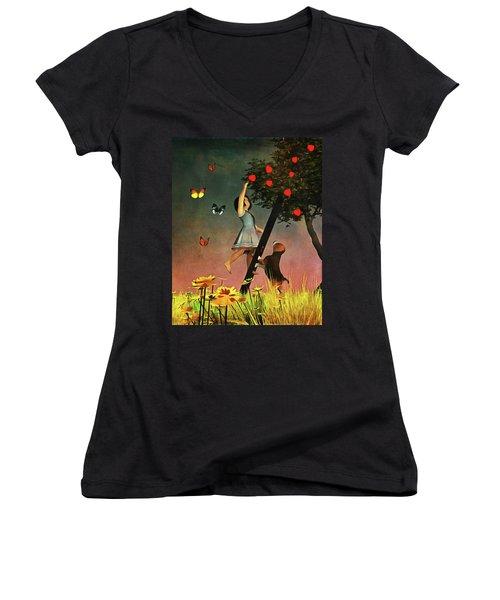 Picking Apples Together Women's V-Neck T-Shirt