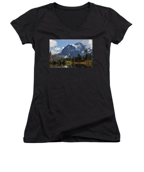 Picture Lake And Mount Shuksan Women's V-Neck (Athletic Fit)