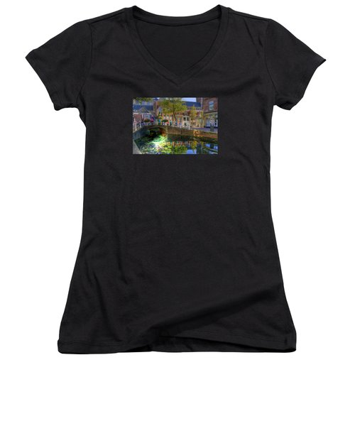 Women's V-Neck T-Shirt (Junior Cut) featuring the photograph Picturesque Delft by Uri Baruch